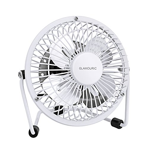 Glamouric Mini Metal Table Fan Small USB Quiet Portable Desk Fan High Compatibility White - For Home, Office by Glamouric