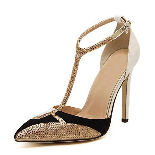 (LIURUIJIA Women's T-Strap High Heels Pointed Toe Mary Jane Stiletto Pumps Elegant Party Bridal Dress Shoes white-35(35/US5.5))