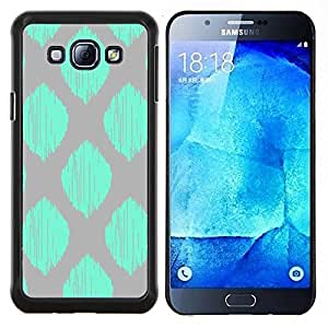LECELL--Funda protectora / Cubierta / Piel For Samsung Galaxy A8 A8000 -- modelo gris verde azulado hoja verde a cuadros --