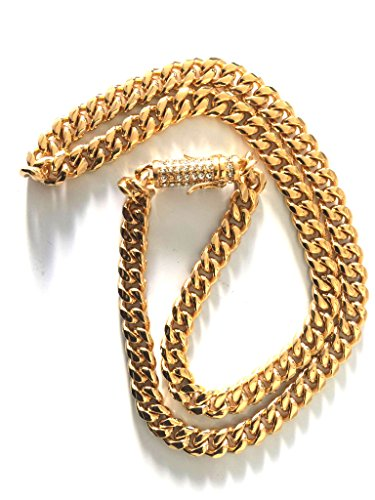 Black Friday Deal Gold Miami Cuban Link Chain 9MM, 24K Real Solid Heavy Premium Pendant Necklace - Black Deals Men Friday For