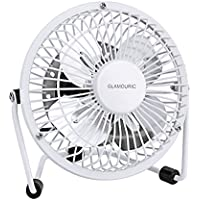 Mini Metal Table Fan-Glamouric Small USB Quiet Portable Desk Fan High Compatibility White - For Home, Office