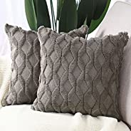 MADIZZ Pack of 2 Soft Plush Short Wool Velvet Decorative Throw Pillow Covers Luxury Style Cushion Case Pillow