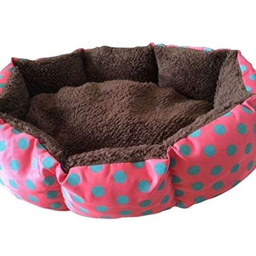 Red Pet Supplies hyx Dot Leopard Printed Beds Mats Sleeping Rug Washable Warm Kennels Bed for Small Dogs Cats, Size 53x43cm (color   Red)