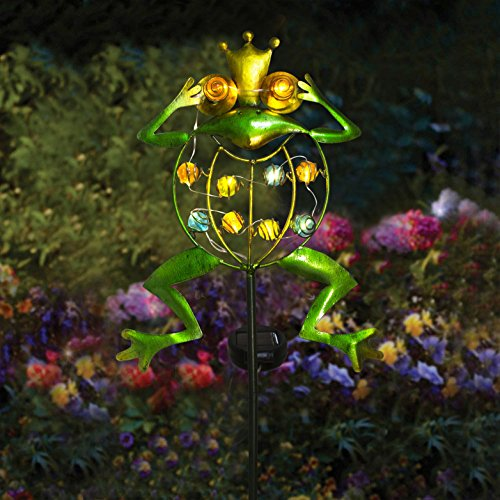 TAKE ME Garden Solar Lights Outdoor,Solar Powered Stake Lights - Metal OWL LED Decorative Garden Lights for Walkway,Pathway,Yard,Lawn (Frog.) by TAKE ME (Image #1)