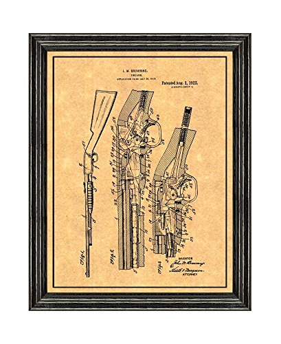 Action Repeater (FN Trombone Pump Action .22 Caliber Repeater Patent Art Print with a Border in a Black Wood Frame (16