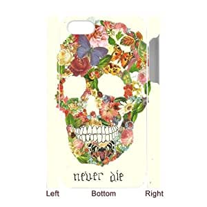 Qxhu Skull Butterfly Flower Protective Snap On Hard Plastic Case for Iphone4,4S 3D case