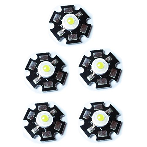 Optimus Electric 5pcs High Power LED Star-Shaped Light Emitter in Board Plate with 1W Output Color White from