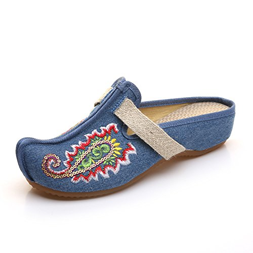 Sandalias Zapatillas Oxford Zapatos Zapatos Zapatillas JTB Open Señoras Señoras Planas Zapatillas Bordados Zapatillas Retro amp;G NGRDX Vetado Diapositivas Hogar agfx66