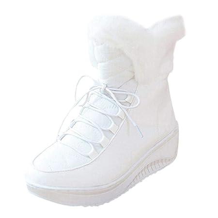 QUICKLYLY Botas De Nieve Mujer,Botines para Adulto,Zapatillas/Zapatos De Invierno Calzado con Cordones De Punta Redonda Cortas con Cordones De Tacón Medio: ...