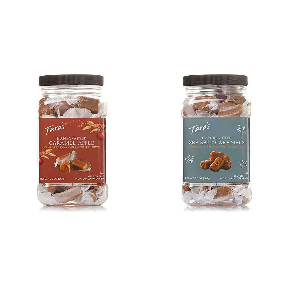 Tara's All Natural Handcrafted Gourmet Caramel Apple Flavored Caramels: Small Batch, Kettle Cooked, 20 Ounce & All Natural Handcrafted Gourmet Sea Salt Caramel: Small Batch, Kettle Cooked, 20 Ounce