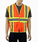 Safety Depot Class 2 ANSI Approved Safety Vest Breathable Mesh, 4 Lower Pockets, 2 Chest Pockets with Pen Divider & High Visibility Reflective Tape M7038 (Large, Mesh Orange)