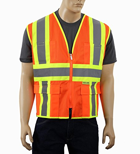 Safety Depot Class 2 ANSI Approved Safety Vest Breathable Mesh, 4 Lower Pockets, 2 Chest Pockets with Pen Divider & High Visibility Reflective Tape M7038 (Large, Mesh Orange) by Safety Depot