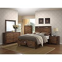 ACME Furniture 21680Q Merrilee Bed with Storage, Queen, Oak