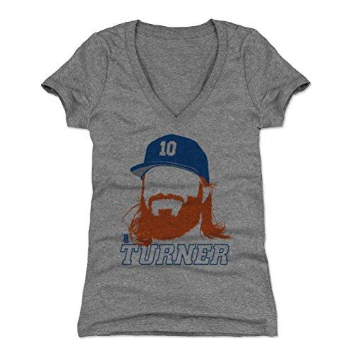 500 LEVEL Justin Turner Women's V-Neck Shirt XX-Large Tri Gray - Los Angeles Baseball Women's Apparel - Justin Turner Silhouette B (Womens T-shirt 07)