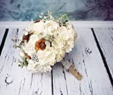 Bridal Ivory Brown Rustic Wedding Bouquet with Sola Flowers Cedar Roses and Burlap