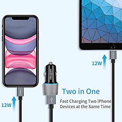 Meagoes Car Charger MFi Certified, 24W/4.8A Dual USB Ports Charging Adapter Compatible for Apple iPhone 11 Pro Max/11 Pro/11/XS Max/XS/X/XR/8 Plus/8/7 Plus/7/6/SE 2020, with 3.3ft Lightning Cable Cord