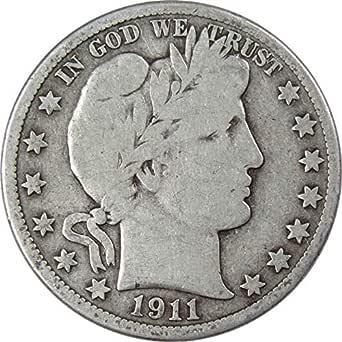 Fine F 1911 P Silver Barber Half Dollar 50c