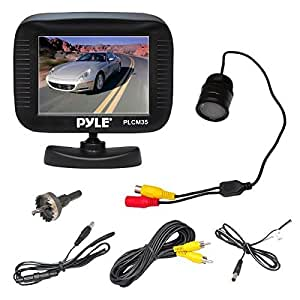 Pyle PLCM35R Vehicle Rearview Backup Camera & Monitor System, Night Vision, Waterproof, Flush Mount Cam, 3.5'' Monitor Display, Parking/Reverse Assistance