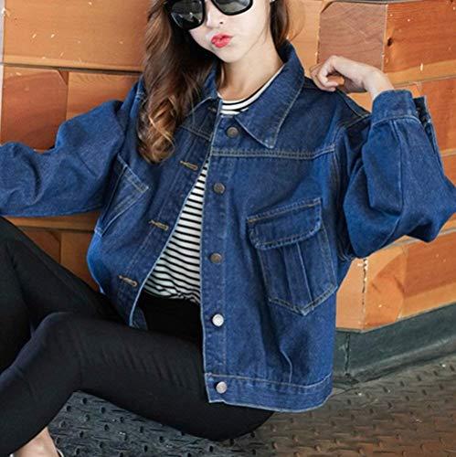 Single Manica Casual Lunga Moda Breasted Outerwear Giacche Accogliente Tasche Stlie Donna Grazioso Corto Autunno Elegante Bavero Jeans Dunkelblau Cappotto Anteriori Di qxv860x