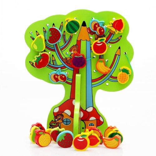 - Konvinit Wooden Lacing Threading String Wisdom Tree Beads, Various Shaped Fruit Pattern Blocks Toddlers - Montessori Educational Developmental Toy Preschool Children