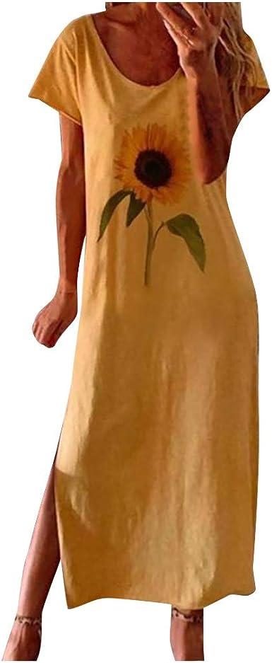 DUTISON Women Sunflower Print Side Split Maxi Dress Casual Short Sleeve T Shirt Dress
