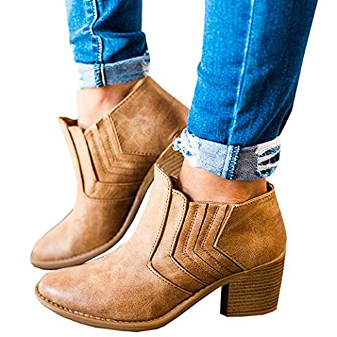 FISACE Women's Autumn Winter Chunky Low Heel Chelsea Round Toe Faux Stacked Ankle Bootie - Boots