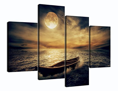 4 Panels Modern Wall Art Painting on Canvas Full Moon A Boat on the Sea Landscape View Artwork for Living Room Bedroom Wall Decor Stretched and Framed Ready to Hang for Home (48''W x 36''H) (Panel Full 4 Piece)