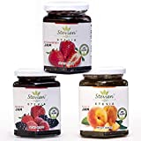 Stevien Jam Collection (3 Jars)   Made With Organic Stevia   Low Calorie   Vegan,Nut-Free and Gluten Free  100% Natural And Local Fruits   Peach, Strawberry, And Mixed Berry Larger Image
