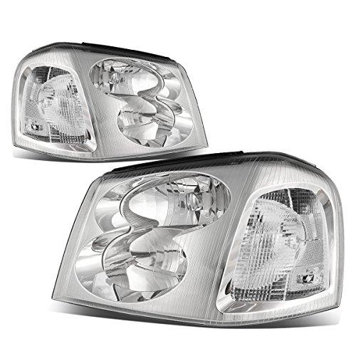 For GMC Envoy 2nd Gen XL SUV Pair of Chrome Housing Clear Corner Headlight Lamp