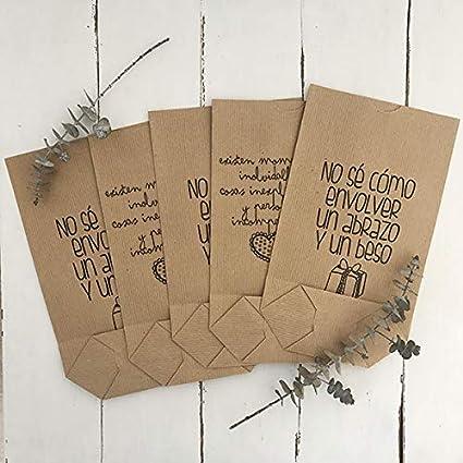 25 BOLSAS CILÍNDRICAS (con base) 15x27 CM - Bolsas regalo 2 modelos de frases (navidad, cumpleaños, boda) - Realizada en papel 100% kraft reciclado
