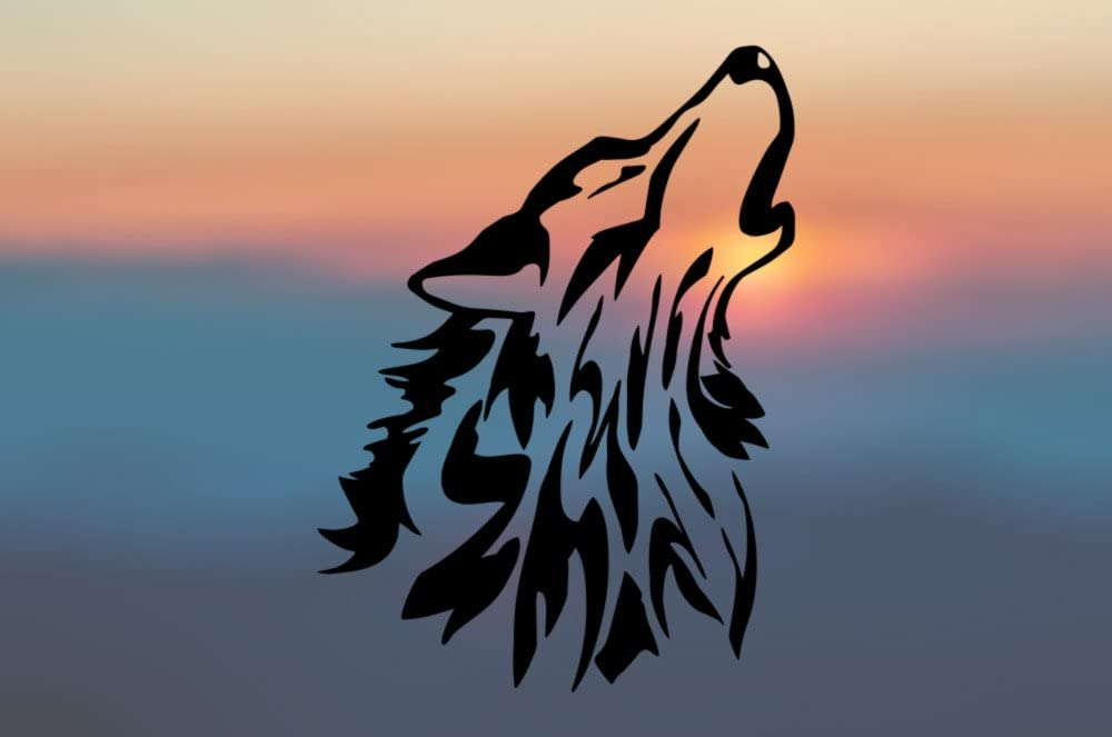 Wolf Howling Vinyl Sticker SELECT SIZE