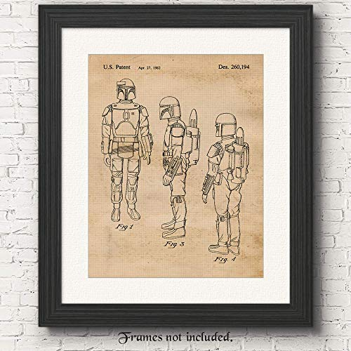 Original Star Wars Boba Fett Patent Poster Prints, Set of 1 (11x14) Unframed Photo, Great Wall Art Decor Gifts Under 15 for Home, Office, Garage, Man Cave, Student, Teacher, Comic-Con & Movies Fan