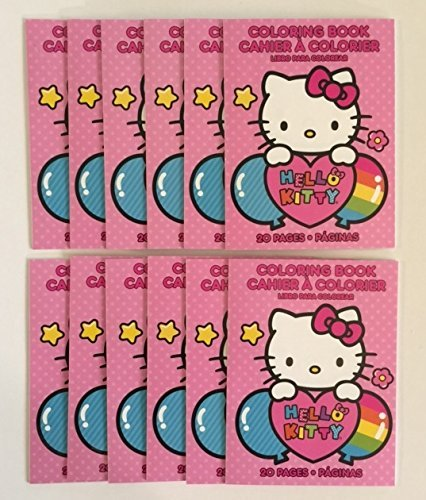 Set Of 12 Hello Kitty Mini Coloring Book Party Favors