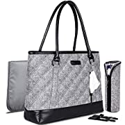Baby Diaper Tote Bag Wet Dry Cloth Organizer Bag Multi-function Travel Nappy Bag Lightweight Elegant Handbag Casual Shoulder Bag With Insulated Pockets, Changing Pad, Bottle Sleeve (Grey)