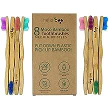 Bamboo Toothbrush - Pack of 8 Biodegradable Tooth Brush Set - Organic Eco-Friendly Moso Bamboo with Ergonomic Handles & Medium BPA Free Nylon Bristles   By HELLO BOO