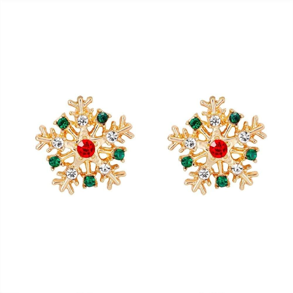 Brave669 Clearance Deals Women Fashion Christmas Snowflake Inlaid Rhinestone Jewelry Ear Stud Earrings