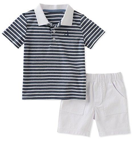 Calvin Klein Baby Boys 2 Pieces Bodysuit Shorts Set, Navy/White, 12M