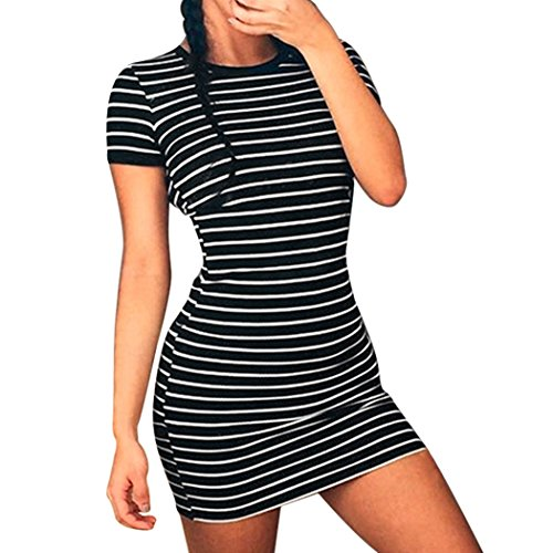MIOIM Damen Streifen Minikleid T-shirt Kleid Jerseykleid Kurzarm Rundhals  Basic Sommerkleider Schwarz