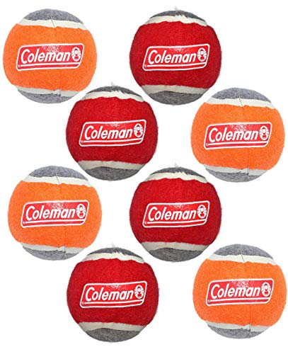 - Coleman Dog Squeak Tennis Ball Toy in Mesh Bag (8 Pack), Red/Orange'