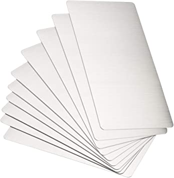 Blank Metal Card 100x60x0.4mm Stainless Steel Plate Dark Gray 20 Pcs