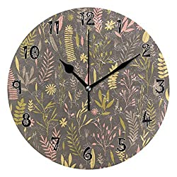Dozili Purple Small Floral Wooden Round Wall Clock Arabic Numerals Design Non Ticking Wall Clock Large for Bedrooms,Living Room,Bathroom