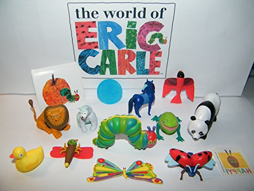 The Very Hungry Caterpillar and Friends From The World of Eric Carle Deluxe Party Favors Set of 14 with Figures, Tattoo, Sticker with Caterpillar, Blue Horse, Lonely Firefly and More!