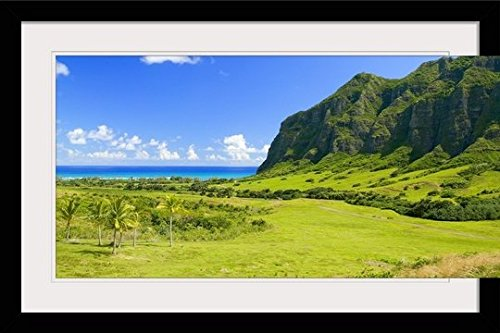 GreatBIGCanvas ''Hawaii, Oahu, Kualoa Ranch, Mountains and ocean in Distance'' by Dana Edmunds Photographic Print with Black Frame, 36'' x 24'' by greatBIGcanvas