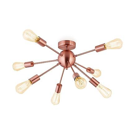 Sputnik Chandelier Antique Brushed Rose Gold With 8 Light Semi Flush Mount Ceiling Light Modern Pendant Lighting Decoration For Dining Room Bed Room