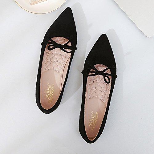 Xue Qiqi Pajarita con Finos Muebles, una Sola Punta Zapato Calzado Plano de luz Plana con Solo Zapatos Femeninos Negro