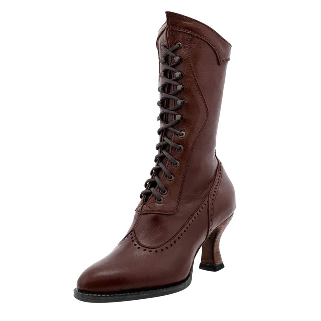 Vdaye Mid-Calf Boots for Women,High-Top Boots Women Cone High Heels Lace-Up Middle Tube Booties Pointed Toe Leather Shoes Fashion Comfy Boots by Vdaye