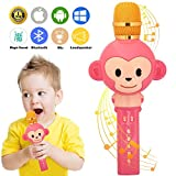 UVUXZLW Microphone for Kids Karaoke Microphone Bluetooth Wireless Microphone Portable Handheld Karaoke Machine Toys Gifts Singing Recording Home KTV Party iPhone Android PC Smartphone (Pink)