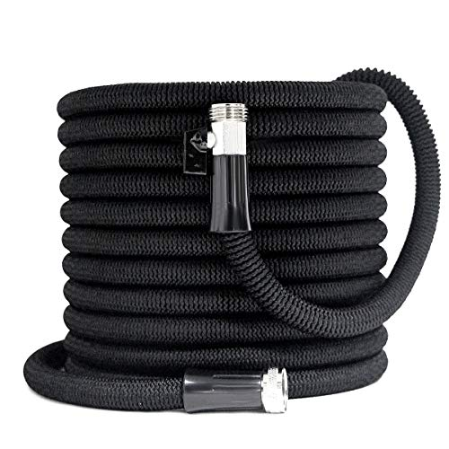 Besiter Garden Hose 75FT New Expandable Flexible Garden Hose with Nickel Plated, 3/4″ Solid Brass Fittings, Double Latex Core, Lightweight and Kink Free Flexible Water Hose with Storage Bag-Black