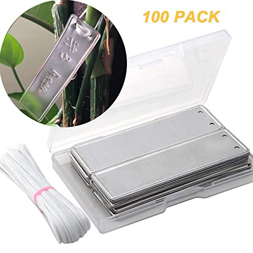 - PinCute Aluminum Plant Labels, Metal Plant Tags, Tree ID Tags Durable & Waterproof Pot Label Tag Marker for Indoor Outdoor Gardening Nursery(100 Pack)
