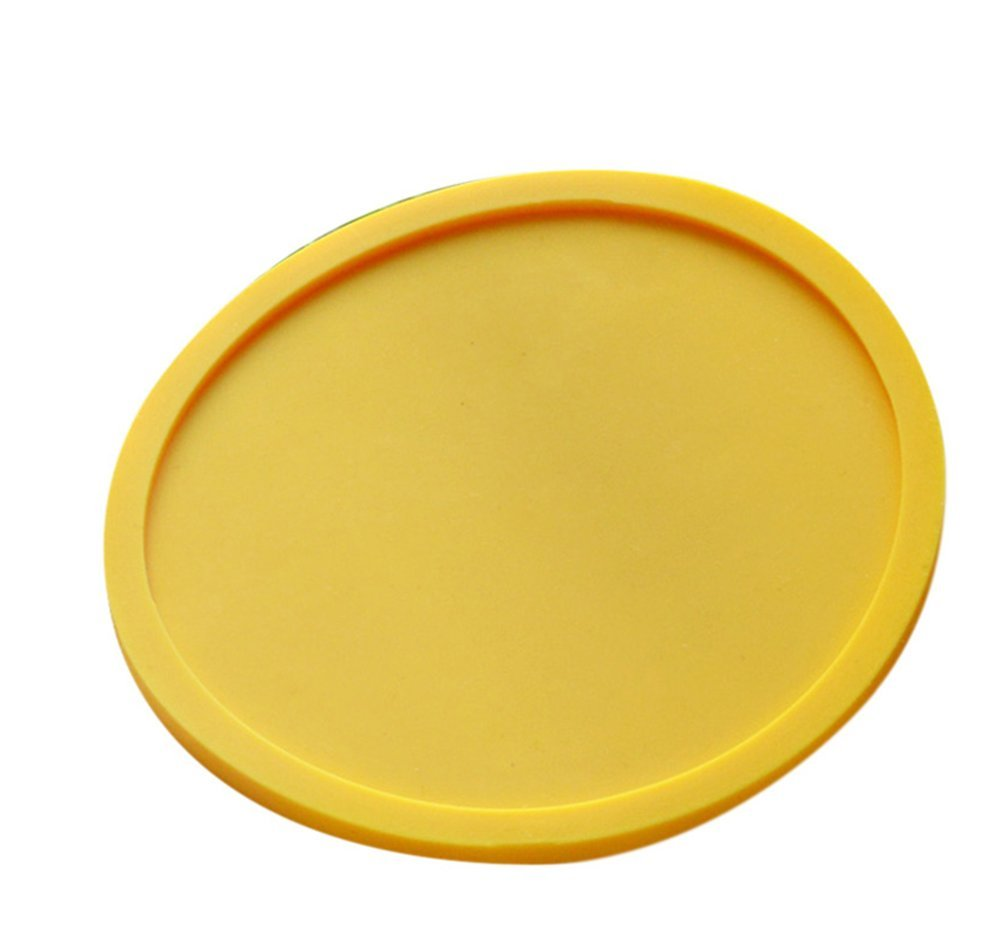 Hosaire Silicone Drink Coasters Great Grip, Easy To Clean, Protects Your Furniture - Spill Tray To Catch Condensation - For Coffee Cup, Wine Glass, Beer Bottle And All Other Beverages Yellow